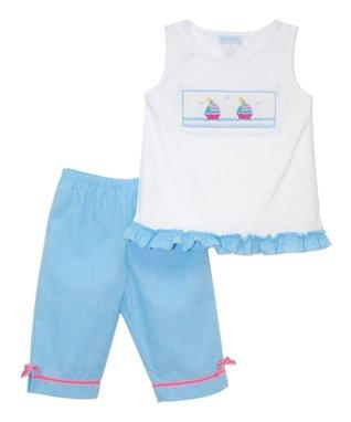 Vive La Fête White Sailing Ruffle Tank & Capri Pants - Toddler & Girls