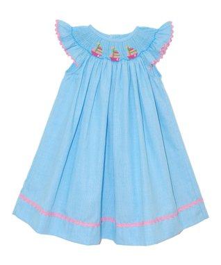 Vive La Fête Blue Sailing Smocked Angel-Sleeve Dress - Infant, Toddler & Girls