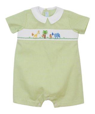 Vive La Fête Red Monkey Smocked Shortalls - Infant & Toddler