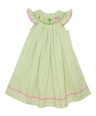 Vive La Fête Green Zoo Smocked Angel-Sleeve Dress - Infant, Toddler & Girls