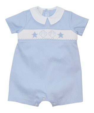 Vive La Fête Blue Acuattica Smocked Romper - Infant
