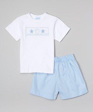 Vive La Fête White Acuattica Smocked Tee & Shorts - Infant, Toddler & Boys