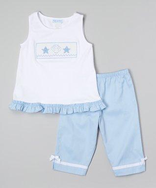 Vive La Fête White Acuattica Ruffle Tank & Capri Pants - Toddler & Girls