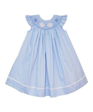 Vive La Fête Blue Acuattica Angel-Sleeve Dress - Infant, Toddler & Girls
