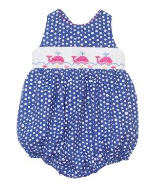 Vive La Fête Blue Whales Smocked Cross-Back Bubble Bodysuit - Infant