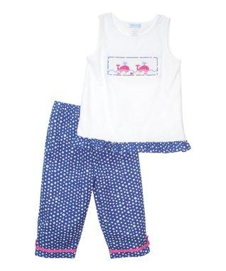 Vive La Fête White Whales Tank & Blue Capri Pants - Toddler & Girls