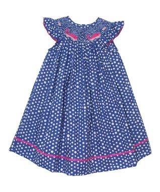 Vive La Fête Blue Whales Smocked Angel-Sleeve Dress - Infant, Toddler & Girls