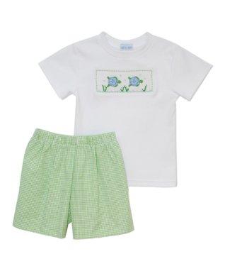 Vive La Fête White Sea Turtles Smocked Tee & Shorts - Infant, Toddler & Boys