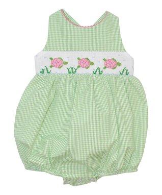 Vive La Fête Green Sea Turtles Cross-Back Bubble Bodysuit - Infant