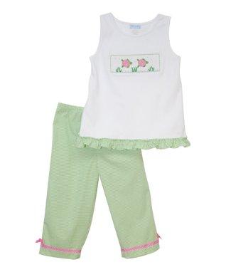 Vive La Fête White Sea Turtles Tank & Capri Pants - Infant, Toddler & Girls
