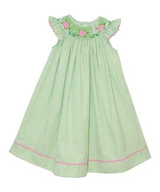 Vive La Fête Green Turtles Bishop Angel-Sleeve Dress - Infant, Toddler & Girls