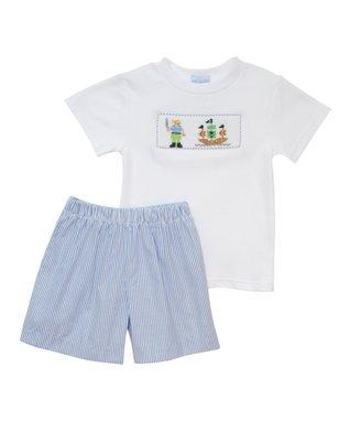 Vive La Fête White Pirates Smocked Tee & Blue Shorts - Infant, Toddler & Boys