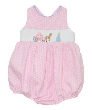 Vive La Fête Pink Princess Smocked Cross-Back Bubble Bodysuit - Infant
