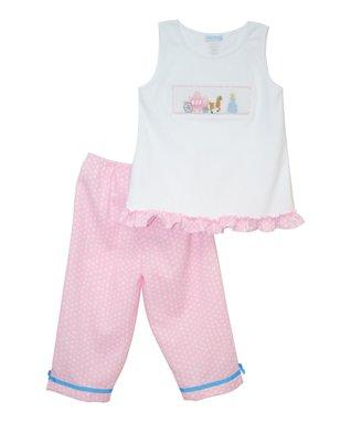 Vive La Fête White & Pink Princess Tank & Capri Pants - Toddler & Girls