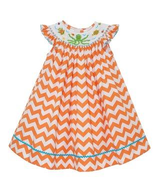 Vive La Fête Orange Under the Sea Cross-Back Dress - Infant, Toddler & Girls