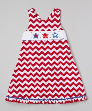 Vive La Fête Red American Cross-Back Dress - Infant, Toddler & Girls