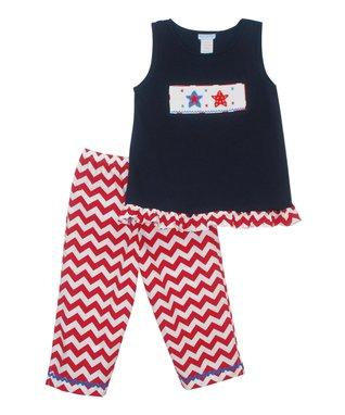 Vive La Fête Navy American Tank & Zigzag Capri Pants - Toddler & Girls