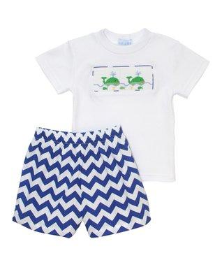 Vive La Fête White Whales Smocked Tee & Zigzag Shorts - Infant, Toddler & Boys
