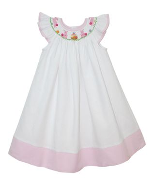 Vive La Fête White Bunny Smocked Angel-Sleeve Dress - Infant, Toddler & Girls