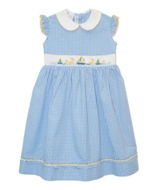 Vive La Fête Blue Sailing Ducks Smocked Dress - Infant, Toddler & Girls