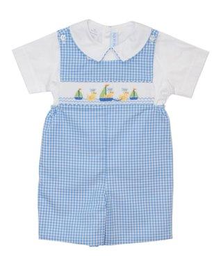 Vive La Fête Blue Sailing Ducks Smocked Shortalls - Infant, Toddler & Girls