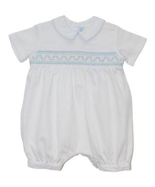 Vive La Fête White Andy Smocked Romper - Infant