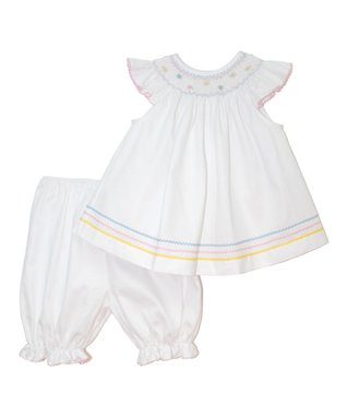 Vive La Fête White Anne Angel-Sleeve Top & Bloomers - Infant & Toddler
