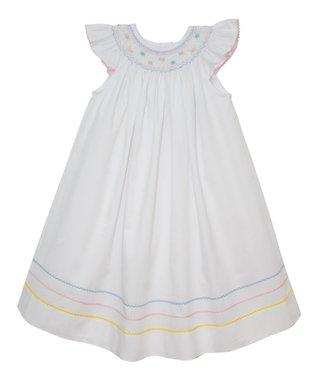 Vive La Fête White Smocked Anne Angel-Sleeve Dress - Infant, Toddler & Girls