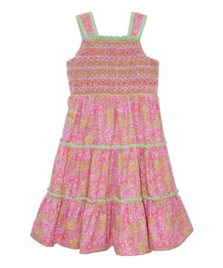 Vive La Fête Green Geometric Christy Silk Angel-Sleeve Dress - Girls