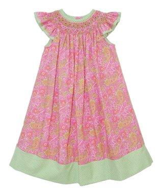 Vive La Fête Pink Paisley Smocked Angel-Sleeve Dress - Infant, Toddler & Girls
