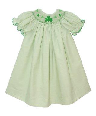 Vive La Fête Green Shamrock Smocked Bishop Dress - Infant, Toddler & Girls