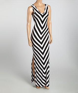 Black & White Chevron Cutout Maxi Dress