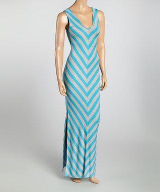 Blue & Gray Chevron Cutout Maxi Dress