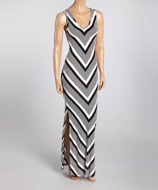 Black Chevron Cutout Maxi Dress
