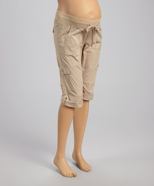 Mom & Co. Khaki Convertible Maternity Capri Pants - Women