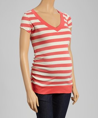 Mom & Co. Coral & Oat Stripe Ruched Maternity V-Neck Tee - Women