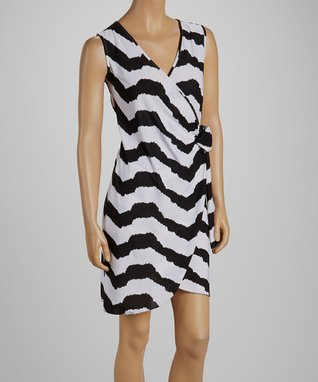 jon & anna Black & White Stripe Wrap Dress