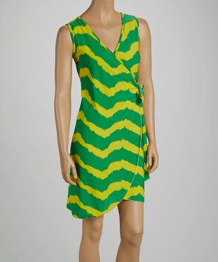 jon & anna Green & Yellow Stripe Wrap Dress
