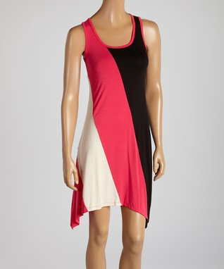 American Twist Fuchsia & Black Sidetail Dress