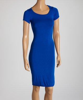 American Twist Royal Blue Scoop Neck Midi Dress