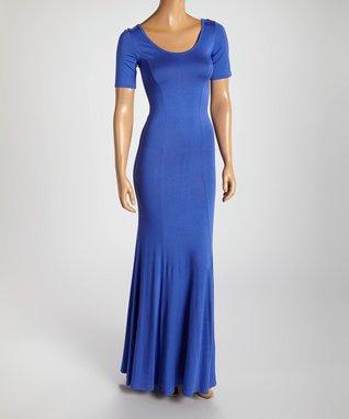 American Twist Royal Blue Scoop Neck Maxi Dress
