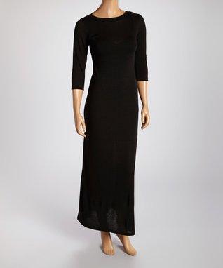 American Twist Black Three-Quarter Sleeve Scoop Neck Maxi Dress