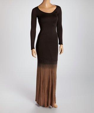American Twist Copper & Black Scoop Neck Maxi Dress