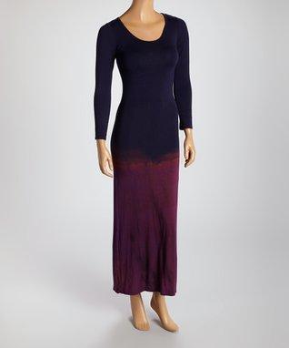 American Twist Sunset & Navy Dip-Dye Scoop Neck Maxi Dress