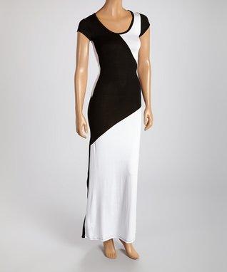 American Twist White & Black Color Block Scoop Neck Maxi Dress