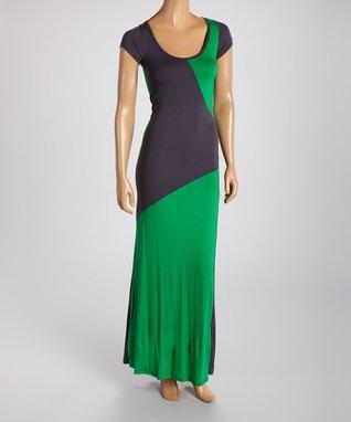American Twist Green & Black Color Block Scoop Neck Maxi Dress