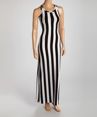 American Twist Black & White Bold Stripe Maxi Dress
