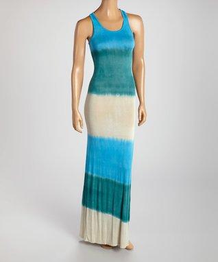 American Twist Navy & Mint Stripe Scoop Neck Maxi Dress