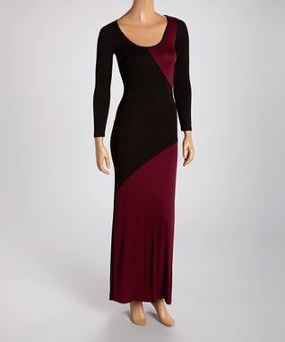 American Twist Black & Burgundy Color Block Scoop Neck Maxi Dress