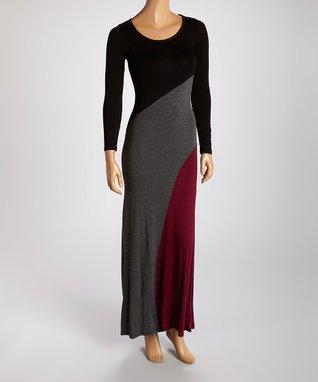 American Twist Black & Charcoal Color Block Scoop Neck Maxi Dress
